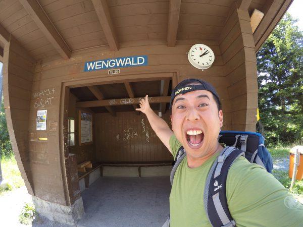 WENGEN駅から一駅のWENGWALD駅。乗りたい人や降りたい人がいなければ電車は通過するOndemand Staionです。